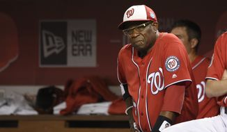Washington Nationals manager Dusty Baker looks on during an interleague exhibition baseball game Minnesota Twins, Friday, April 1, 2016, in Washington. The Nationals won 4-3. (AP Photo/Nick Wass)
