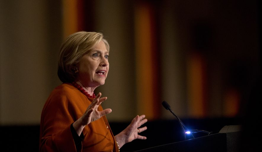 Democratic presidential candidate Hillary Clinton speaks during the Founders Day Gala, Saturday, April 2, 2016, in Milwaukee. (AP Photo/Mary Altaffer)