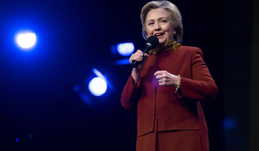 Democratic presidential candidate Hillary Clinton addresses members of the Christian Cultural Center church in the Brooklyn borough of New York, Sunday, April 3, 2016. (AP Photo/Craig Ruttle)