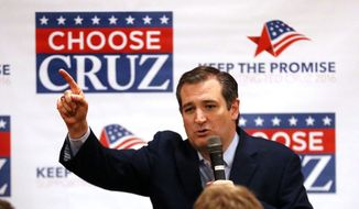 Republican presidential candidate Ted Cruz speaks Sunday, April 3, 2016, at Florian Gardens in Eau Claire, Wis.  Cruz spent the day campaigning in Wisconsin in advance of the state's Tuesday primary election. (Steve Kinderman/The Eau Claire Leader-Telegram via AP)