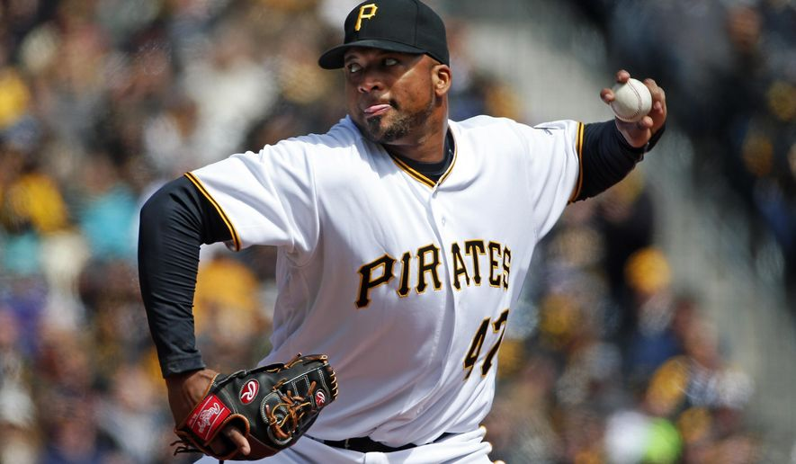 Pittsburgh Pirates starting pitcher Francisco Liriano delivers during the first inning of an opening day baseball game against the St. Louis Cardinals in Pittsburgh, Sunday, April 3, 2016. (AP Photo/Gene J. Puskar)