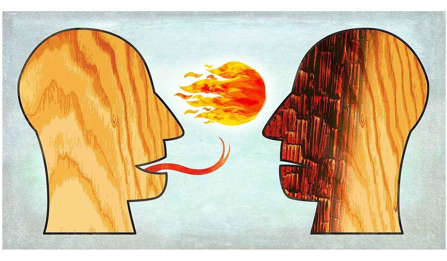Illustration on slander by Greg Groesch/The Washington Times