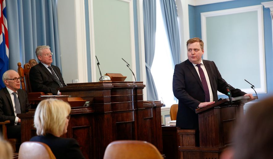 Iceland Prime Minister Sigmundur David Gunnlaugsson insisted Monday he would not resign after documents allege he used an offshore financial company as a tax haven. (Associated Press)