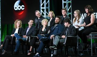 "Todd Holland, Stacy Traub, Matt Shively, Bebe Wood, Mary Hollis Inboden, Casey Johnson, David Windsor, Martha Plimpton, Jay R. Ferguson and Noah Galvin participate in the ""The Real O'Neals"" panel at the ABC 2016 Winter TCA on Saturday, Jan. 9, 2016, in Pasadena, Calif. (Photo by Richard Shotwell/Invision/AP)"