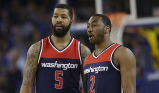 Washington Wizards forward Markieff Morris, left, was detained at the Philadelphia International Airport on Thursday before being released. (AP Photo/Marcio Jose Sanchez)