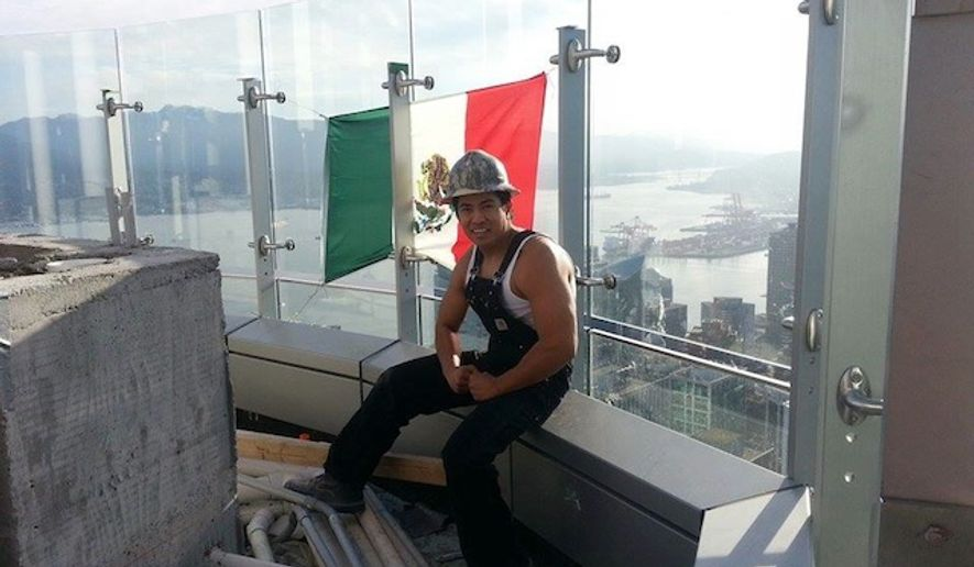 Construction worker Diego Saul Reyna briefly flew a Mexican flag from the top floor of Trump International Hotel and Tower in Vancouver Saturday, hoping to send a message to Donald Trump that immigrants played a crucial role in his success. (Facebook/@Diego Saul Reyna)