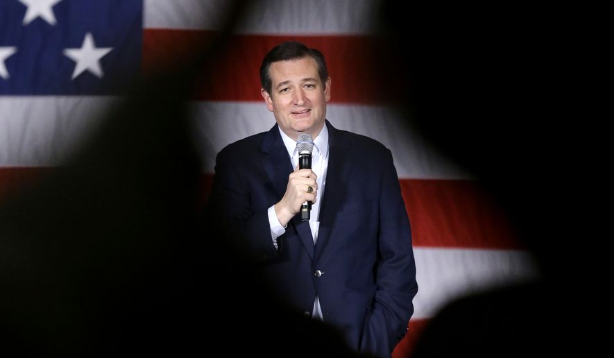 Republican presidential candidate, Sen. Ted Cruz, R-Texas, speaks at a campaign stop at Waukesha County Exposition Center, Monday, April 4, 2016, in Waukesha, Wis. (AP Photo/Nam Y. Huh)
