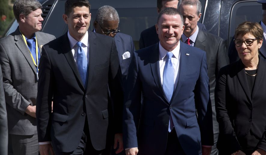 United States House Speaker Paul Ryan, left, walks with Knesset Speaker Yuli Edelstein, during a meeting at the Knesset, Israel's parliament in Jerusalem, Monday, April 4, 2016.  (AP Photo/Sebastian Scheiner)