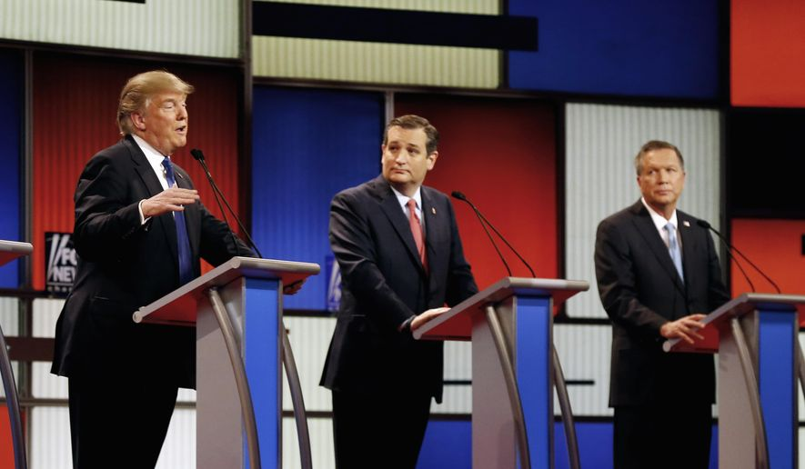 In this March 3, 2016, file photo, Republican presidential candidates, businessman Donald Trump, Sen. Ted Cruz, R-Texas, and Ohio Gov. John Kasich appear during a Republican presidential primary debate at the Fox Theatre in Detroit. (AP Photo/Paul Sancya) ** FILE **