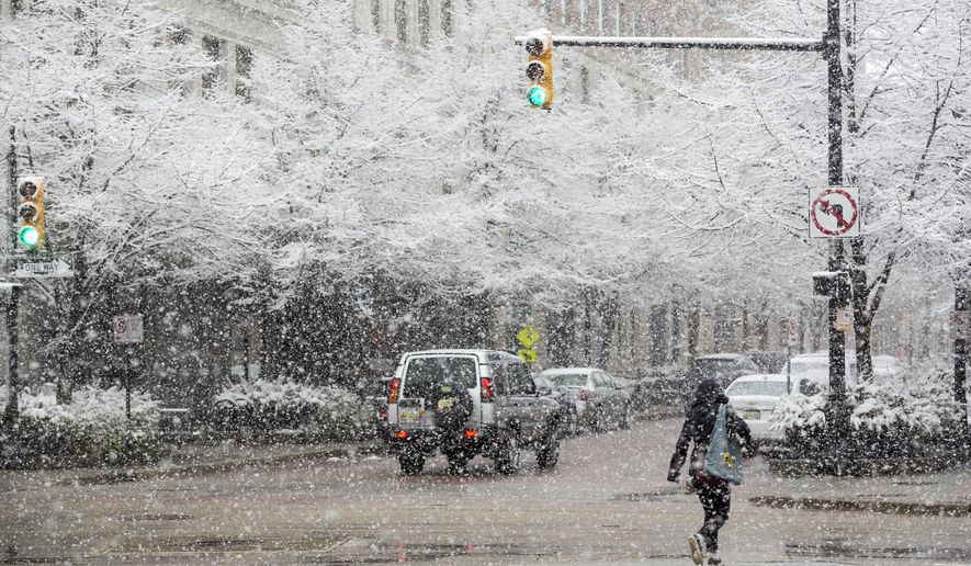 A woman walks down Monroe Center Street NW on Saturday, April 2, 2016, in Grand Rapids, Mich. As of 2:45 p.m., more than five inches of snow has fallen between Hudsonville and Allendale, according the National Weather Service.  (Nick Gonzales/Grand Rapids Press-MLive.com via AP)