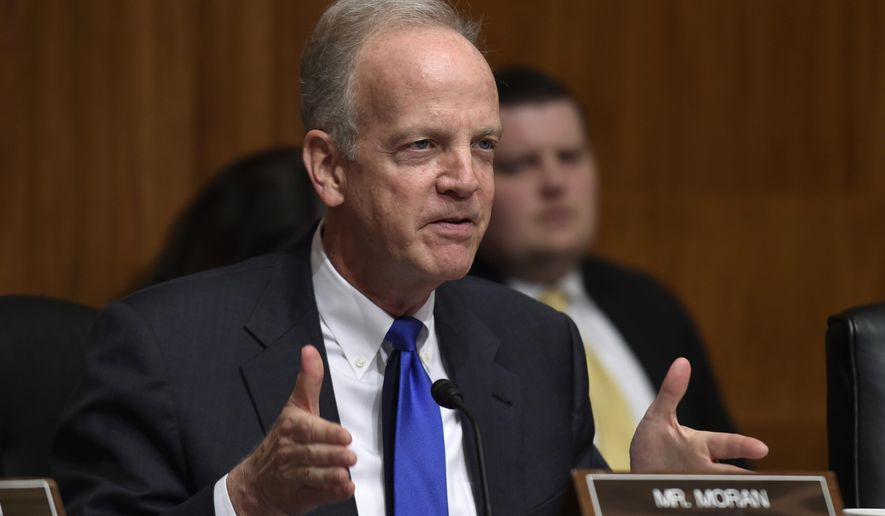 Sen. Jerry Moran, Kansas Republican, asks a question of Treasury Secretary Jacob Lew on Capitol Hill in Washington on March 8, 2016, during a hearing of the Senate Appropriations subcommittee on Financial Services and General Government on the Treasury Department's fiscal 2017 budget request. (Associated Press) **FILE**