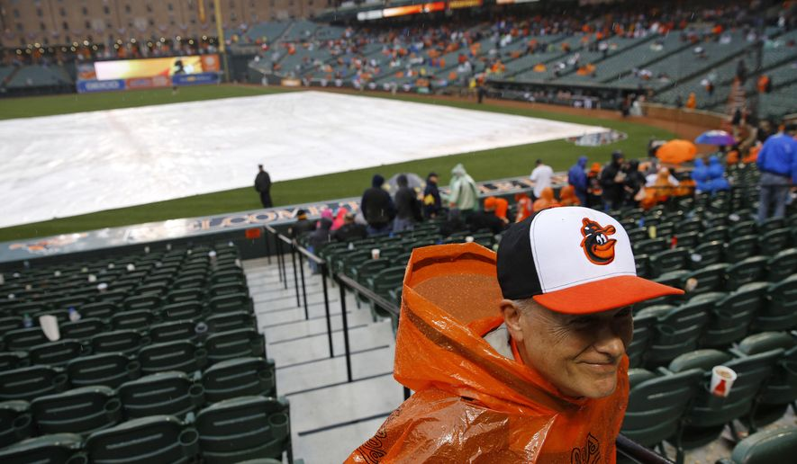 wbbA Baltimore Orioles fan looks for cover during a rain delay in an opening day baseball game against the Minnesota Twins in Baltimore, Monday, April 4, 2016. (AP Photo/Patrick Semansky)