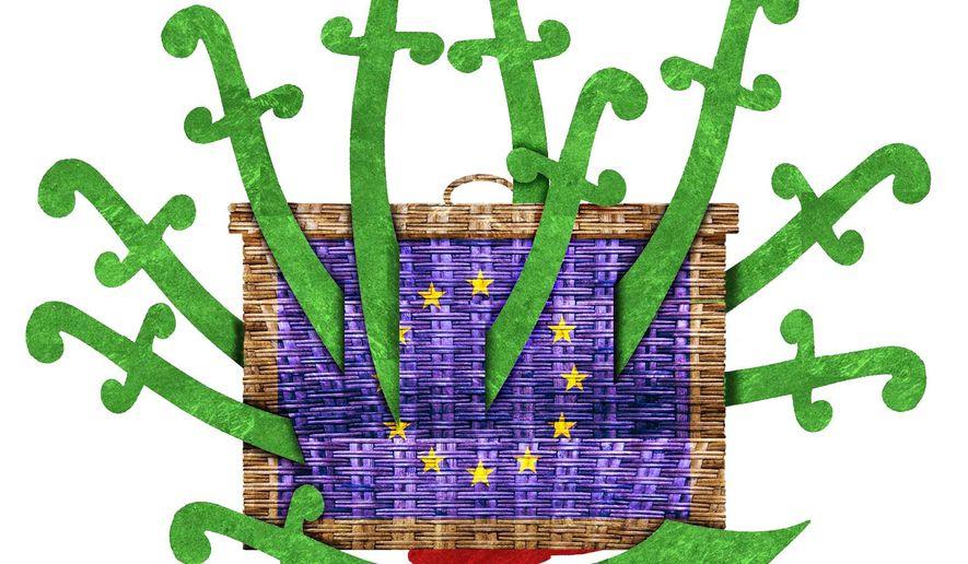 Illustration on jihadi attacks on the EU by Alexander Hunter/The Washington Times