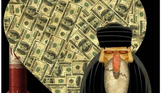Illustration on Obama's monetary enticement strategy to blunt Iranian aggression by Alexander Hunter/The Washington Times