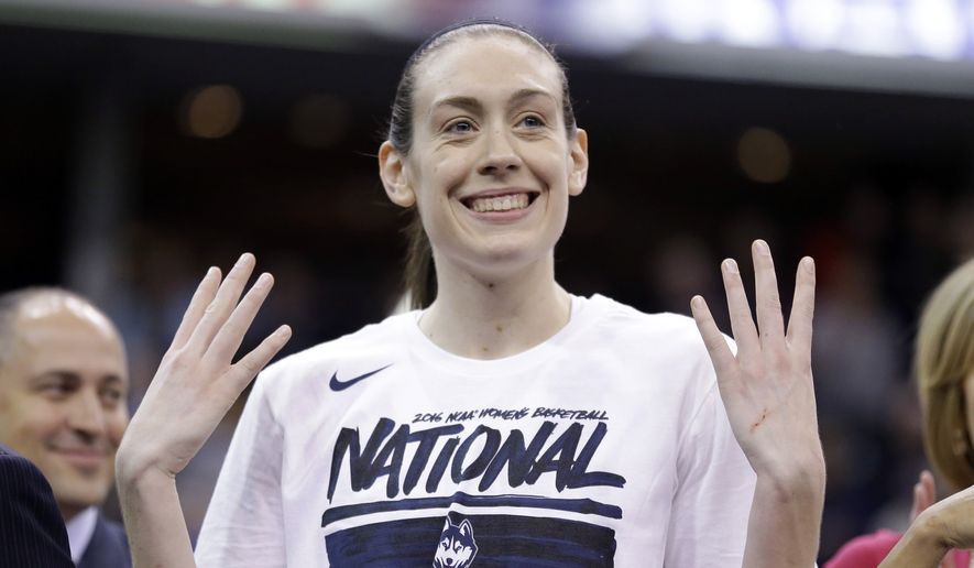 Connecticut's Breanna Stewart (30) celebrates following the championship game at the women's Final Four against Syracuse in the NCAA college basketball tournament Tuesday, April 5, 2016, in Indianapolis. Connecticut won 82-51 for their fourth consecutive title. (AP Photo/Michael Conroy)