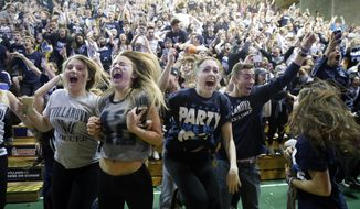 Villanova basketball fans celebrate after Villanova defeated North Carolina in the NCAA Final Four tournament college basketball championship game, Monday, April 4, 2016, in Villanova, Pa. Villanova won 77-74. (AP Photo/Matt Rourke)