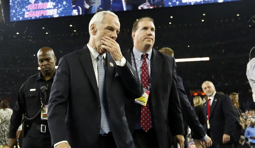 North Carolina head coach Roy Williams walks off the court after the NCAA Final Four tournament college basketball championship game Monday, April 4, 2016, in Houston. Villanova won 77-74. (AP Photo/Eric Gay)