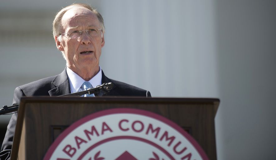Gov. Robert Bentley speaks during Alabama Community College Day on the Alabama Capitol lawn on Tuesday, April 5, 2016, in Montgomery, Ala. Republican Rep. Ed Henry says he is filing an impeachment resolution against Gov. Bentley in the wake of a scandal involving one of the governor's top aides, who has since resigned. The resolution will likely be sent to the House Rules Committee for consideration.   (Albert Cesare/Montgomery Advertiser via AP)