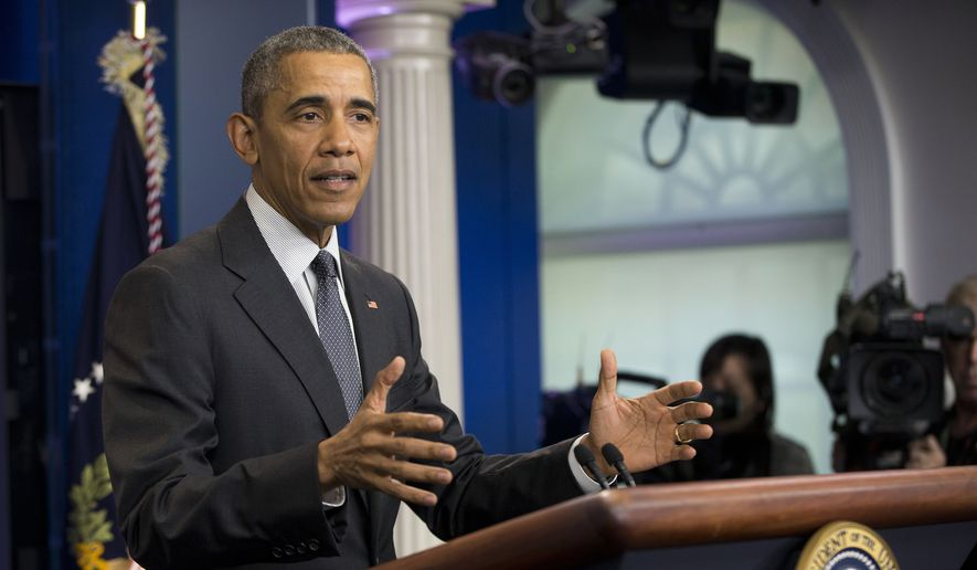 """I am getting questions constantly from foreign leaders about some of the wackier suggestions that are being made,"" President Obama said, taking a sharp detour into the campaign to succeed him. (Associated Press) **FILE**"