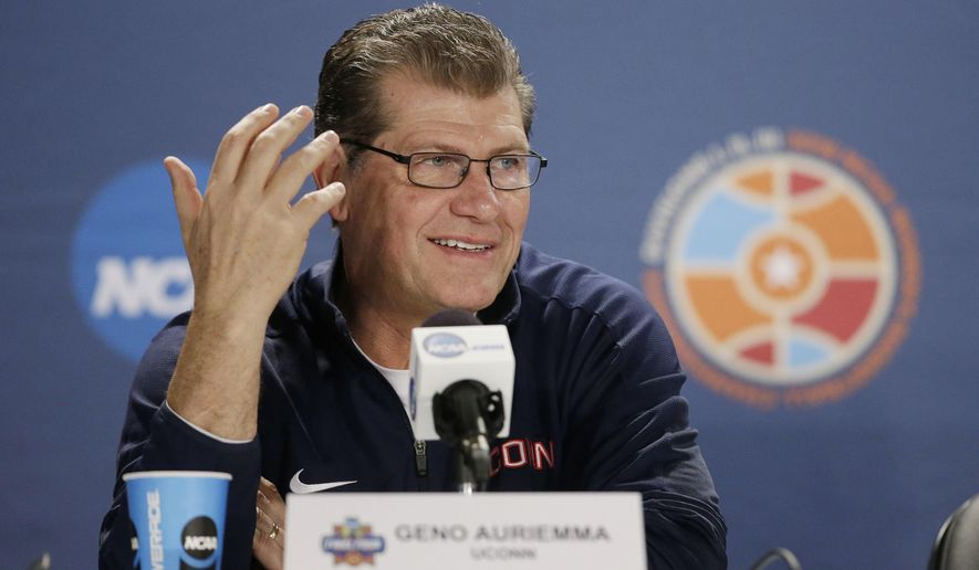 Connecticut head coach Geno Auriemma responds to a question during a news conference at the women's Final Four in the NCAA college basketball tournament Monday, April 4, 2016, in Indianapolis. Connecticut will play Syracuse in the championship game on Tuesday. (AP Photo/Darron Cummings)