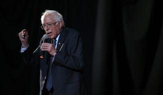 Democratic presidential candidate, Sen. Bernie Sanders I-Vt., speaks during a campaign stop Wednesday, April 6, 2016, at Tindley Temple United Methodist Church in Philadelphia. (AP Photo/Matt Rourke)