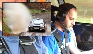 "Chief games designer on Codemasters' ""Dirt Rally"" Paul Coleman taking part in an actual rally race as a co-driver."