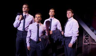 Aaron De Jesus (second from left) as Frankie Valli.  (post-gazette.com)