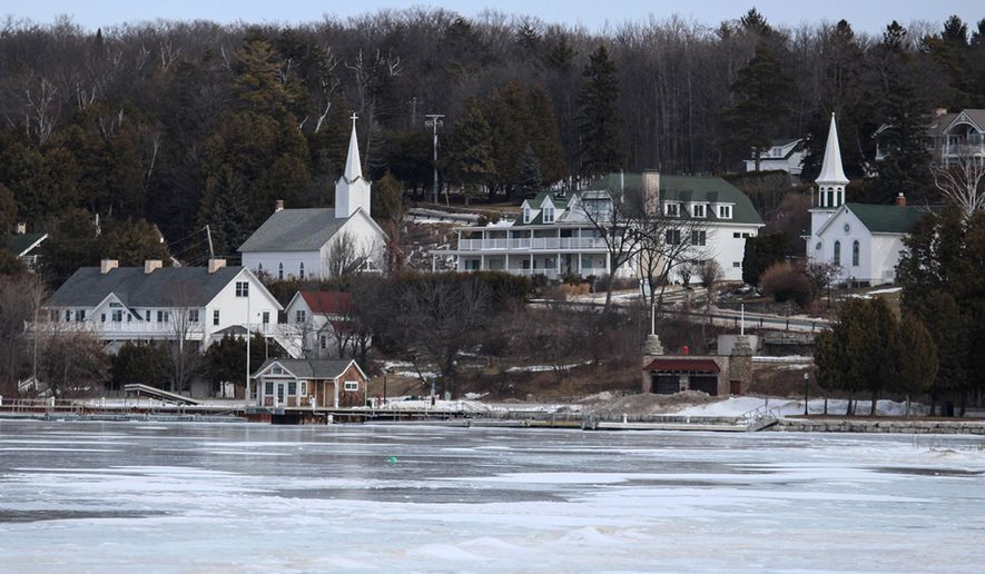 FILE - This Feb. 26, 2016, file photo shows the small northeastern Wisconsin village of Ephraim. On Tuesday, April 5, 2016, voters in the town lifted the longstanding ban on alcohol sales. The village of about 300 people has been dry since Norwegian Moravians founded it in 1853. (AP Photo/Carrie Antlfinger, File)