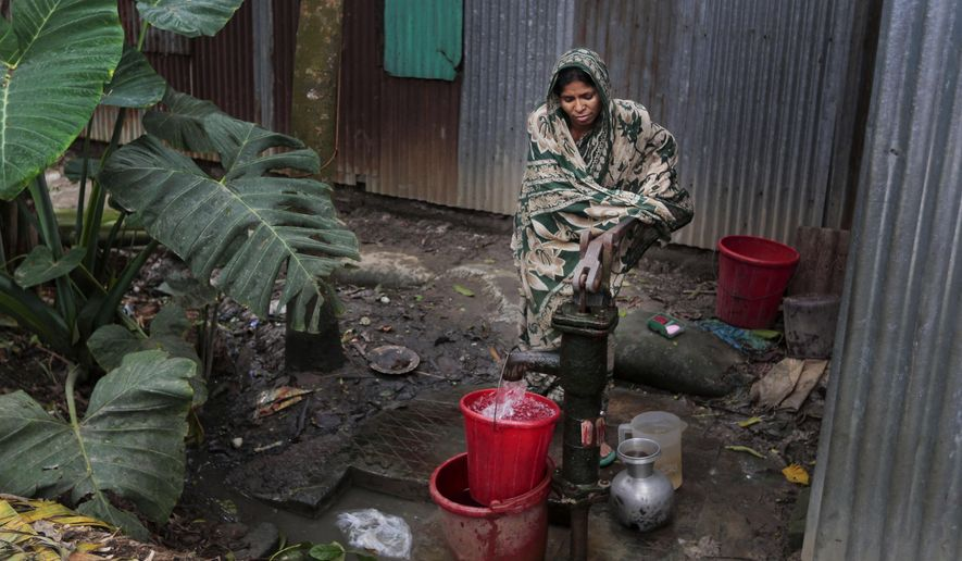 In this April 5, 2016 photo, a Bangladeshi woman collects arsenic-tainted water from a tube-well in Khirdasdi village, outskirts of Dhaka, Bangladesh. A new report estimates that some 20 million Bangladeshis are still being poisoned by arsenic-tainted groundwater drawn from government wells. Arsenic is a naturally occurring and toxic element found in the soil and groundwater of some areas of the world, including vast delta regions like in eastern India and Bangladesh, where rivers empty into the Bay of Bengal. (AP Photo/A.M. Ahad)