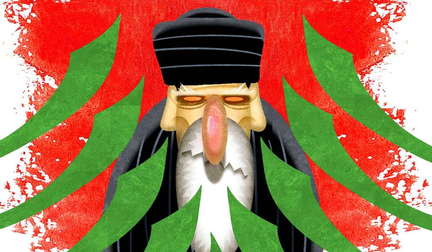 Illustration on Muslim efforts to oppose Iranian Islamist hegemony by Alexander Hunter/The Washington Times