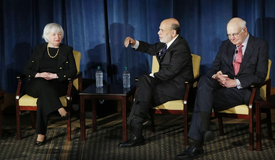 Federal Reserve chair Janet Yellen, left, former Federal Reserve chairs Ben Bernanke, center, and Paul Volcker, right, appear together, Thursday, April 7, 2016, in New York. The panel is geared toward millennials and focused on decision-making with international implications. (AP Photo/Kathy Willens, Pool)