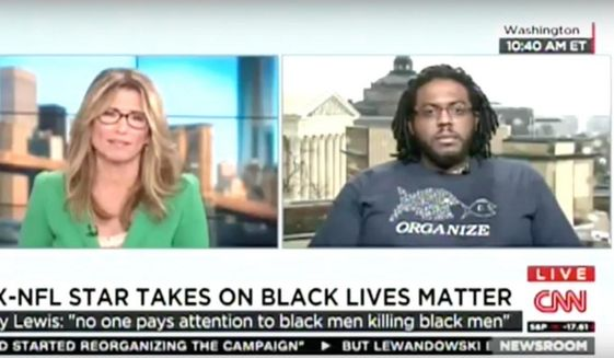 Aaron Goggans, an organizer for the Black Lives Matter movement in Washington, D.C., responded on CNN to former Baltimore Ravens linebacker Ray Lewis' criticism of the movement. (Image: YouTube)