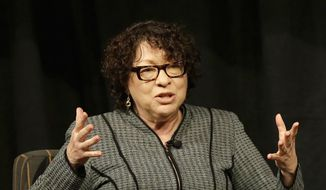 Supreme Court Justice Sonia Sotomayor speaks in San Jose, Calif. (AP Photo/Jeff Chiu, Pool, File)