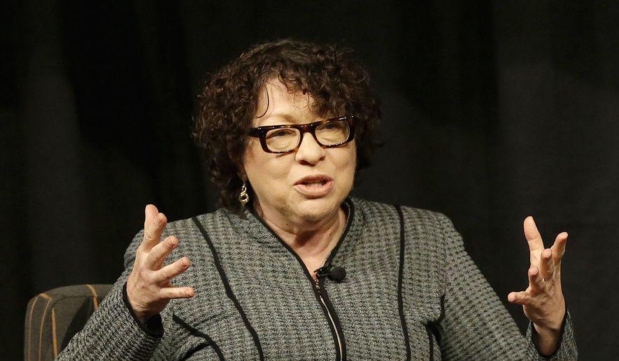 Supreme Court Justice Sonia Sotomayor speaks in San Jose, Calif. (AP Photo/Jeff Chiu, Pool, File)