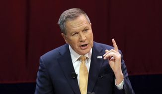 Republican presidential candidate, Ohio Gov. John Kasich delivers his State of the State address at the Peoples Bank Theatre, Wednesday, April 6, 2016, in Marietta, Ohio. (AP Photo/Tony Dejak)