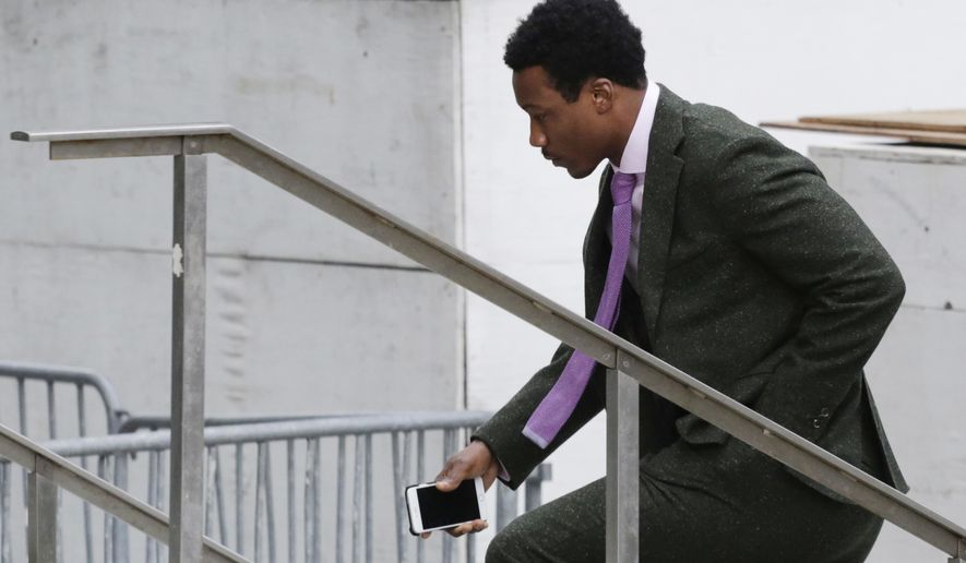 New York Jets wide receiver Brandon Marshall enters federal court, Thursday, April 7, 2016, in New York. Plaintiff Christin Myles is seeking unspecified damages in a lawsuit she filed after a March 11, 2012, encounter outside Marquee nightclub in New York, where she was celebrating her 24th birthday. She told a jury that she still suffers from injuries incurred when she was punched in the face four years ago by Marshall. Marshall denies he punched her.(AP Photo/Mark Lennihan)