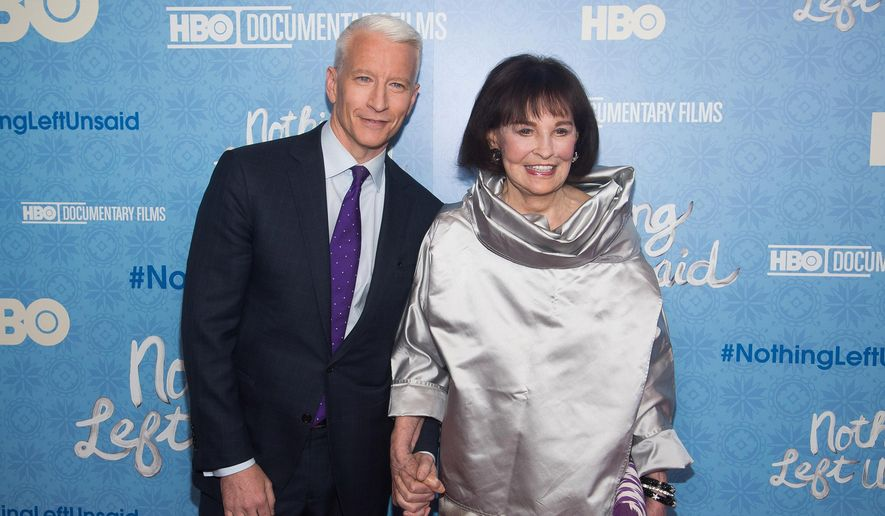 """Anderson Cooper and his mother Gloria Vanderbilt attend the premiere of """"Nothing Left Unsaid"""" at the Time Warner Center on Monday, April 4, 2016, in New York. (Photo by Charles Sykes/Invision/AP) ** FILE **"""