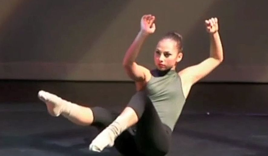 In this image taken from a video, Haruka Weiser performs at ACMA Performing Arts Center in Beaverton, Ore. A homeless 17-year-old has been arrested Friday, April 8, 2016, in the killing of the University of Texas dance major whose body was recovered in the heart of the bustling campus an unnerving one of the country's best-known schools. (AP Photo)