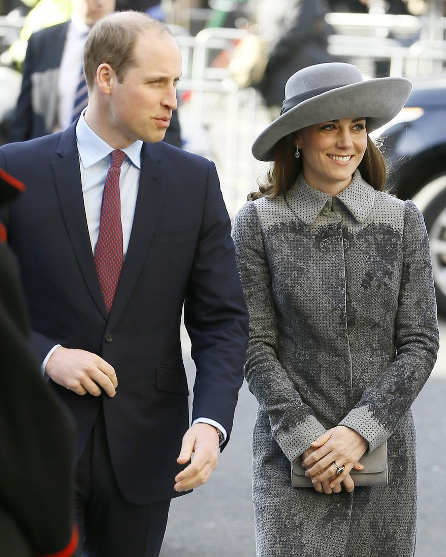 FILE - In this March 14, 2016, file photo, Britain's Prince William, left, and Kate, the Duchess of Cambridge, arrive to attend the Commonwealth Day service at Westminster Abbey in London. When the Duke and Duchess of Cambridge arrive in India on Sunday, April 10, 2016, on what's being called their most ambitious tour to date, they'll encounter much of the starry-eyed giddiness they're used to along with a hint of nostalgia harkening back to a 1992 visit by the late Princess Diana. (AP Photo/Kirsty Wigglesworth, File)