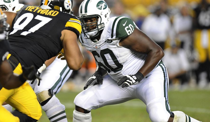 FILE - In this Sept. 16, 2012, file photo, New York Jets tackle D'Brickashaw Ferguson (60) looks to block Pittsburgh Steelers defensive end Cameron Heyward (97) during the fourth quarter of an NFL football game, in Pittsburgh. Ferguson is walking away from football after 10 years of protecting New York Jets quarterbacks. The remarkably durable and consistent left tackle who never missed a snap due to injury has decided to retire, according to a person familiar with the decision.(AP Photo/Don Wright, File)