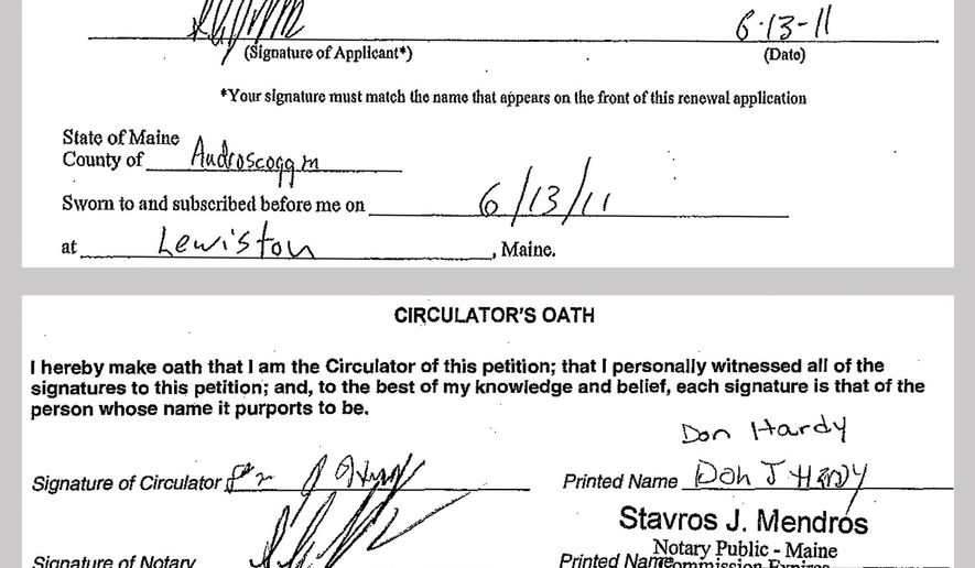 """These images from documents provided March 30, 2016, by the Maine secretary of state's office shows the signature that Stavros Mendros used in his 2011 notary public commission application to the Maine Office of Secretary of State, top, and his signature that appears on one of the petitions in 2015 calling for a state-wide vote to legalize marijuana, below. Secretary of State Matthew Dunlap had rejected 5,000 petitions submitted on Feb. 1 containing more than 26,000 signatures, saying the signature of the notary on the petitions did not match the signature on file. On Friday, April 8, 2016, Superior Court Justice Michaela Murphy reversed the decision, ruling it was """"unreasonable"""" for the state to require that the notary's signature must be identical. (Maine Office of Secretary of State via AP)"""