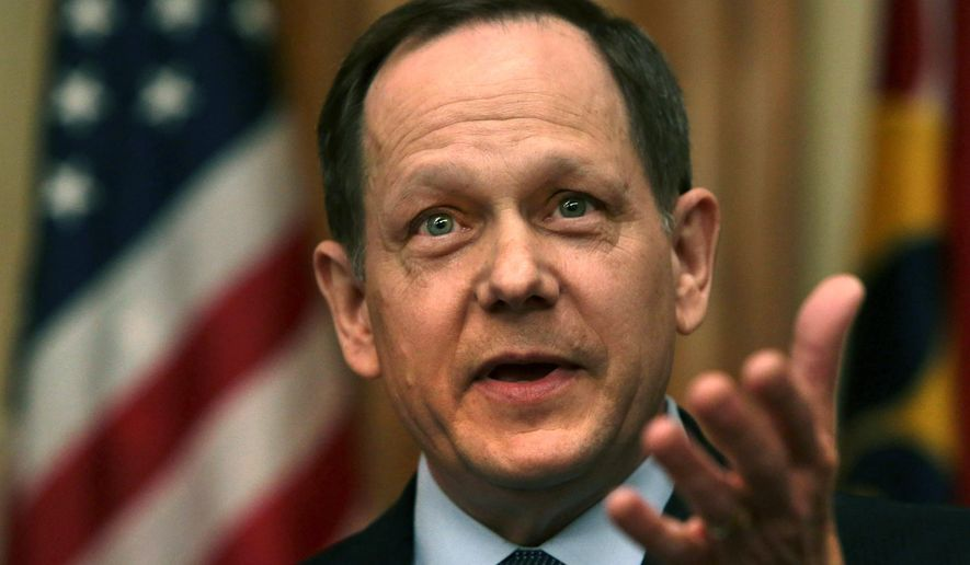 St. Louis Mayor Francis Slay announces he will not run for re-election during a press conference on Friday, April 8, 2016, at City Hall, in St. Louis.  (Laurie Skrivan /St. Louis Post-Dispatch via AP)  EDWARDSVILLE INTELLIGENCER OUT; THE ALTON TELEGRAPH OUT; MANDATORY CREDIT