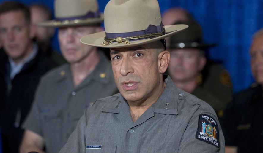 FILE - In this June 28, 2015 file photo, New York State Police Superintendent Joseph D'Amico speaks during a news conference following the capture of fugitive David in Malone, N.Y. On Friday, April 8, 2016 a spokesperson for the New York State Police confirmed that D'Amico is stepping down as New York State's top cop. No reason was given for his departure.(AP Photo/Mike Groll, File)