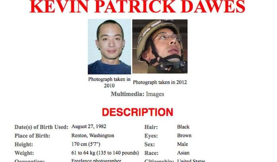 FILE - This 2012 missing person poster released by the Federal Bureau of Investigation shows American freelance photographer Kevin Patrick Dawes, who went missing in Syria in Oct. 2012. The Syrian government has released Dawes who was captured after entering the country about four years ago, the State Department said Friday, April 8. (FBI via AP, File)
