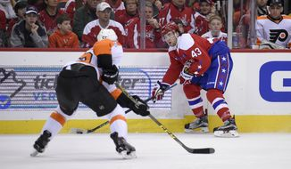 Washington Capitals right wing Tom Wilson (43) skates with the puck against Philadelphia Flyers defenseman Nick Schultz (55) during the first period of an NHL hockey game, Sunday, Feb. 7, 2016, in Washington. (AP Photo/Nick Wass)