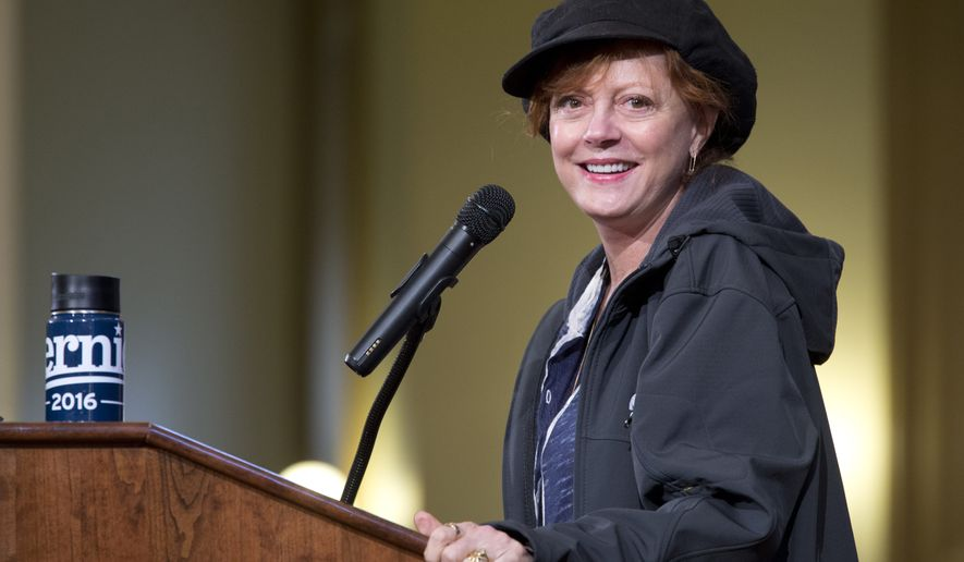 Actress Susan Sarandon introduces Democratic presidential candidate, Sen. Bernie Sanders, I-Vt., during a campaign event, Saturday, April 9, 2016, in the Bronx borough of New York. (AP Photo/Mary Altaffer)
