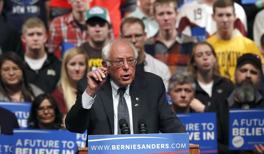 In this Tuesday, April 5, 2016, file photo, Democratic presidential candidate Sen. Bernie Sanders, I-Vt., speaks at a campaign rally in Laramie, Wyo. (AP Photo/Brennan Linsley, File)