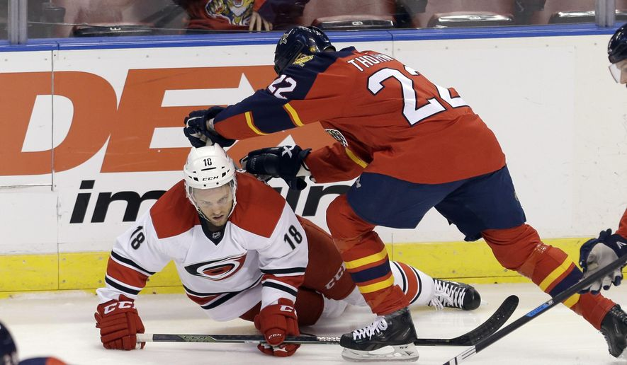 Carolina Hurricanes center Jay McClement (18) is checked by Florida Panthers right wing Shawn Thornton (22) during the first period of an NHL hockey game, Saturday, April 9, 2016, in Sunrise, Fla. (AP Photo/Alan Diaz)
