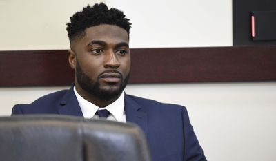FILE - In this Tuesday, April 5, 2016 file photo, former Vanderbilt football player Cory Batey sits during a break on day two of his trial in Judge Monte Watkins' courtroom in the A.A. Birch building in Nashville, Tenn. The former Vanderbilt football player has been found guilty on Friday, April 8, of raping an unconscious student in a dorm . It took less than three hours for the jury of nine men and three women to find Batey guilty of aggravated rape, two counts of attempted aggravated rape, facilitation of aggravated rape and three counts of aggravated sexual battery. (Samuel M. Simpkins/The Tennessean via AP, File) MANDATORY CREDIT; NO SALES