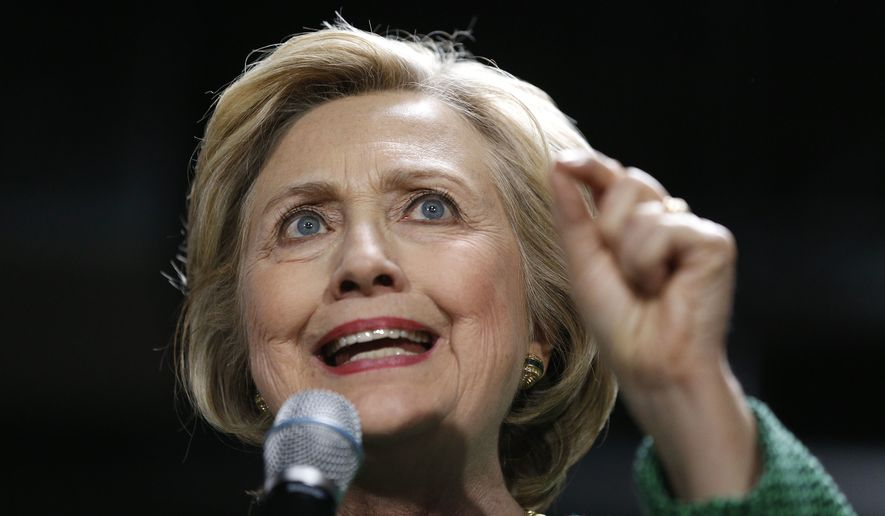 Democratic presidential candidate Hillary Clinton speaks during a campaign event at City Garage in Baltimore, Sunday, April 10, 2016. (AP Photo/Patrick Semansky)